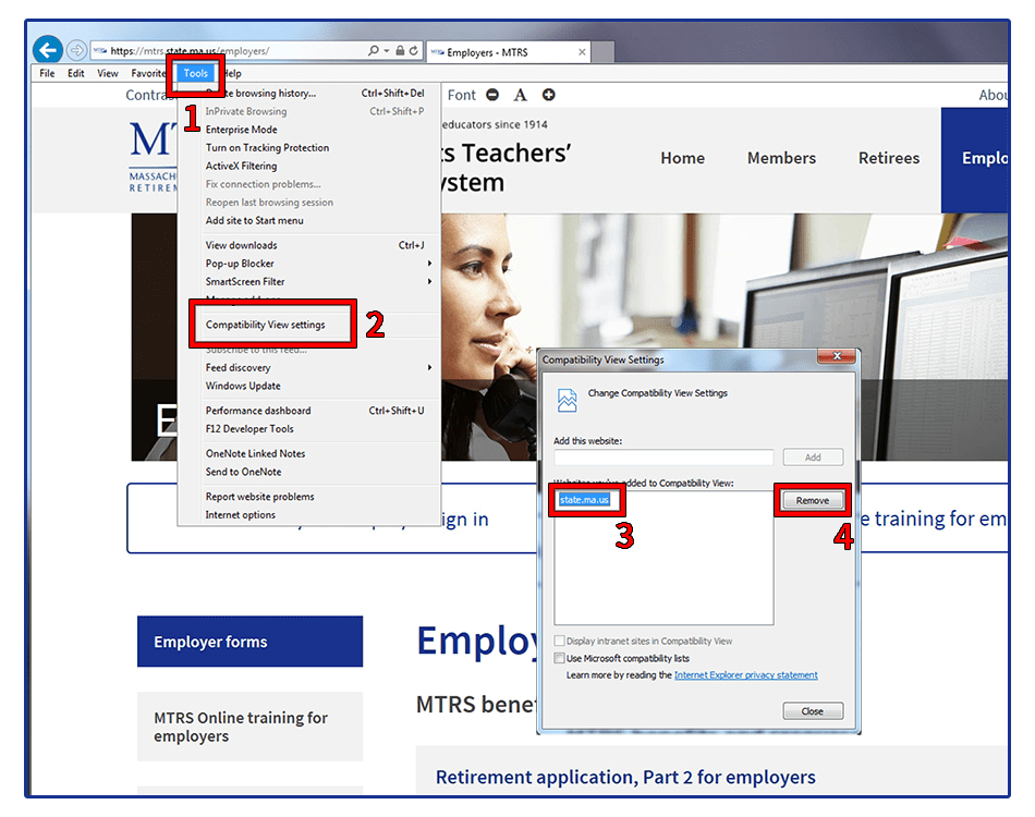 Demonstration of how to find the Compatibility View settings in Internet Explorer in order to remove state.ma.us.