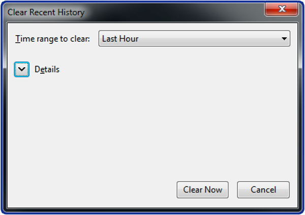 How to clear history in Firefox: Step 0