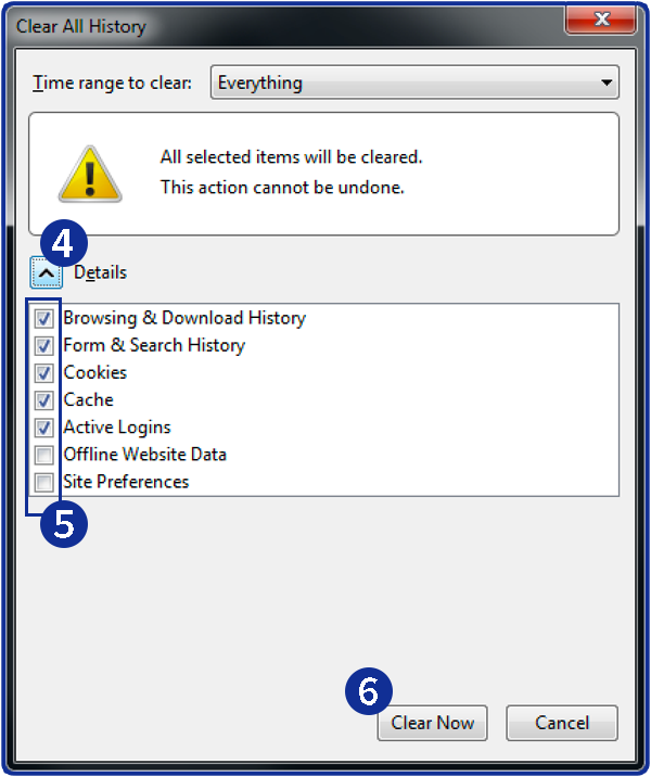 How to clear history in Firefox: Step 2