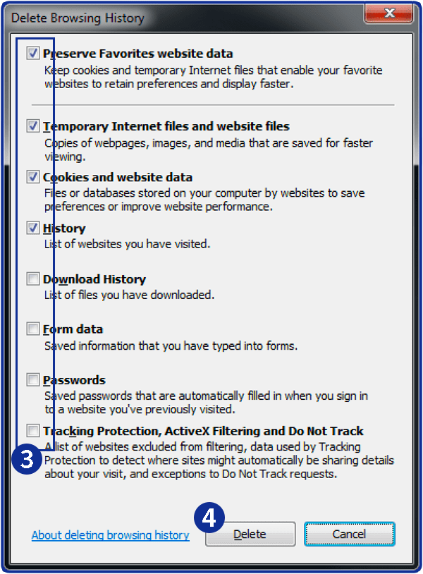 How to clear history in Internet Explorer